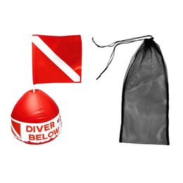 Wholesale Fins For Diving - Diving Swimming Fin Shoes Mesh Bag + Scuba Flag Marker with Inflatable Buoy for Freely Adjustable Diving Swimming Equipment