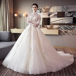Wholesale Collared Long Sleeved Wedding Dresses - 2018 Free Freight High-Quality Wedding Dresses White Translucent Long-Sleeved Collar Qi Large Tail Lace Applique Beach Dresses HY080