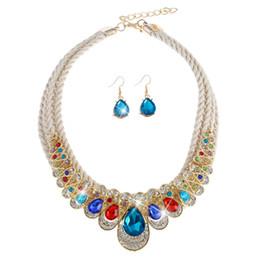 Wholesale gold weave necklace - Luxury 2 Style Crystal Weave Statement Necklaces & Stud Earrings Set Chandelier Women Dangle Choker Wedding Jewelry Sets Wedding Decoration