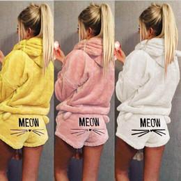 Pyjama brodé en Ligne-Cat Hooded Embroidery Pyjamas Femmes Chaud Doux Mignon 2pcs À Manches Longues Pantalon Court De Nuit Vêtements De Nuit 20sets OOA5632