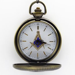 Wholesale Womens Plastic Watches - New Arrival 5.5cm Masonic Freemasonry Theme Coloful Dial Quartz Pocket Watch Pendant Necklace Fob Watch Mens Womens Gift