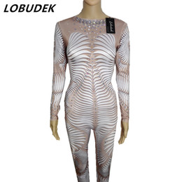 Wholesale Zebra Dance Costumes - 3D Printing Personality DJ DS stage costumes Leotard Elastic Flash Crystals Jumpsuit Nightclub Singer Bar Lead Dance performance stage wears