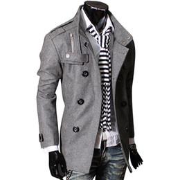 Canada Mode Automne Hiver Homme Trench-Coat Slim Manteau De Laine À Double Poitrine Veste Décontractée Hommes Veste Casual Manteau Asiatique / Taille M-3XL S18101804 cheap asian fashion men coats Offre