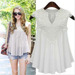 Wholesale ladies white ruffled blouses - Size M-5XL Ladies Women Sleeveless Chiffon Slim Blouses & Shirts Lace Tops Tees Shirt