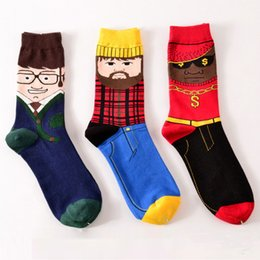 Wholesale Korean Wholesale Socks - 1 Pair Korean AMazing Socks Men's Cotton Creative Funny Beard Glasses Gentleman Pattern Novelty Socks Causal Colored Long Sox