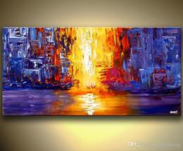 Mejores pinturas para el hogar online-Hecho a mano abstracto color brillante lienzo moderno arte de la pared lienzo pinturas al óleo mejor pintura de calidad de aceite para la decoración del hogar