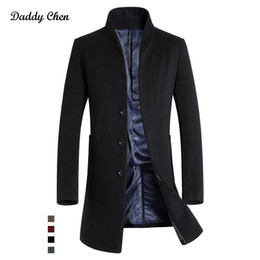 Wholesale Gray Wool Jacket High Collar - High Quality Brand Winter Mens Long Wool Blends Trench warm Coat Men Slim fit jackets Parkas for Autumn fashion 2017 coat jacket