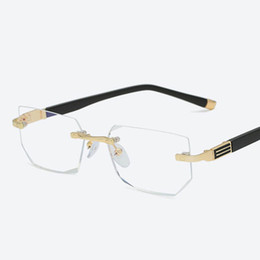 5a5e2fef66 2019 Anti-blue light Reading Eyeglasses Presbyopic Spectacles Clear Glass  Lens Unisex Rimless Glasses Frame of Glasses Strength +1.0 ~ +4.0