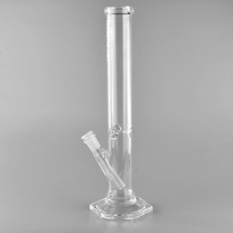 Wholesale glass hexagon - Hi Si Glass Straight Tube Water Pipe Hexagon Base Bong Mini Geyser Dab Rig 14 inches Tall Water Pipe
