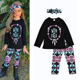 2019 impressão de camisetas para bandas Outono Da Menina Da Criança Roupas Meninas Flor Conjunto de Roupas Impresso roupas Kid 3 pcs Faixa de Cabelo + T-Shirt + Calças Moda Menina Terno Do Esporte impressão de camisetas para bandas barato