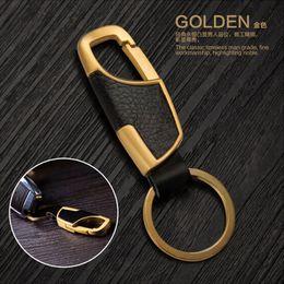 Chaveiro Chaveiro ouro liga de zinco criativa do metal chaveiro de couro Anel Keyfob Car presente frete grátis de
