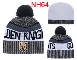 Wholesale Hockey Beanies - 2017 New Season Ice Hockey Vegas Golden Knights Baseball Football Basketball Beanie Team Knit Pom Hats Sports Beanies Fashion winter Hat