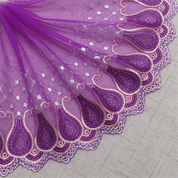 Diseños de bordado de tela online-Meetee Wed Lace 21cm Purple Bordado Flor Diseño Cortina Tela Malla Tul Guipure Costura Diy Muñeca Chiffon Cloth ZK935