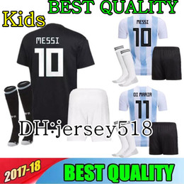 Wholesale breathable shirts - 2018 Argentina World Cup kids kit MESSI DYBALA Argentina child home Away soccer jersey AGUERO DI MARIA HIGUAIN 2018 Children football shirts