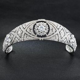 Argentina Lujo cristales austriacos CZ Meghan princesa boda nupcial tiara corona accesorios para el cabello novia plata diadema fshion joyería Suministro