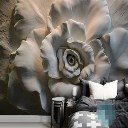 3d flocking wallpaper Promo Codes - Custom Mural Wallpaper Wall Painting 3D Relief Rose Flower Wallpaper For Living Room Sofa TV Background Wall Mural Home Decor 3D