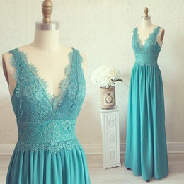 2018 Turquoise V-neck Bridesmaid Dresses Chiffon Appliques Lace A-line Real  Photo Floor Length Maid Of Honor Gowns For Bridesmaids Cheap 42b7080f1d8d