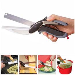 Paquete de verduras online-2 en 1 Inteligente Cortador Inteligente Cocina de Acero Inoxidable Tijeras Cuchillo Utilidad Tabla de cortar Comida Carne Queso Verdura Herramientas de Corte Con Paquete