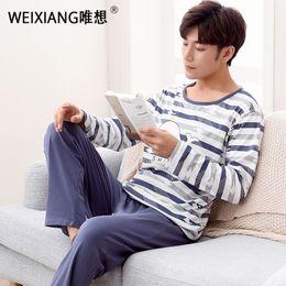 Wholesale pajamas for couples - Cotton Long Sleeve O-neck Pajama For Men Spring Autumn Men Pajamas Set Women Sleepshirts Couple Striped Sleepwear Homewear