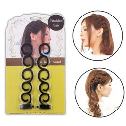 Wholesale Hair Bun Making - Make Up Styling Tool Hair Braiding Tool Braider Roller Hook With Hair Twist Styling Bun Maker Hair Band Accessories