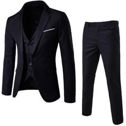 progettista dimagrente adatta il nero bianco Sconti NIBESSER Uomo 3 pezzi Blazer Pantaloni Gilet Social Suit Uomo Moda Solid Business Suit Set Casual Uomo Abiti formali Plus Size5XL