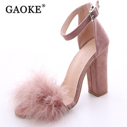 Wholesale embossed wedding - 2017 Sexy Women Suede Pumps Open Toe Heels Sandals Woman Sandals Ankle Strap Fur Wedding Shoes Women High Heels Dress Shoes