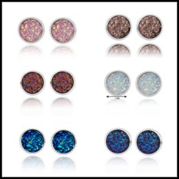 Wholesale Sequins Earrings - Fascinating 6 Colors 12mm Druzy Silver Earring Small Stud Sequins Resin Earrings Minimalist Gemstone Jewelry For Women