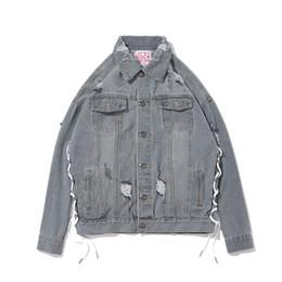 2019 homens cinza denim jaquetas Jaquetas de denim cinza são desgaste dos homens quentes em 2018 preto escuro rua hip street solto decote retro inlay tamanho M-XXL desconto homens cinza denim jaquetas