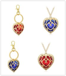 Wholesale Heart Shaped Key Necklace - Heart-shaped key ring and crystal necklace Blue and red color crystal jewelry Fashion party decoration accessories
