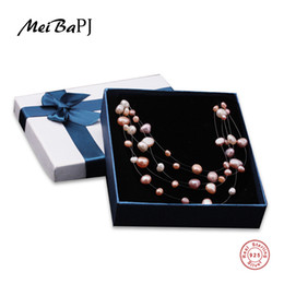 MeiBaPJ S925 Broche de Plata Collar de Perlas de Agua Dulce Natural Para Mujeres Múltiples Capas Blanco Rosa Público Para Usar Joyería Fina XL008 Y1892805 desde fabricantes