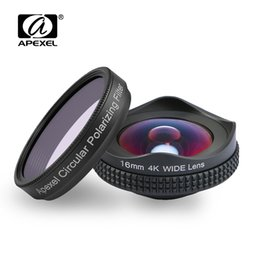 Wholesale hd filters - APEXELProfessional 4K Wide lens circular polarizing Filter 16mm HD super wide angle lens for iPhone 6s plus 7 HTC more phone