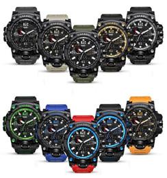 Wholesale gear alarm clock - Multi-Function Digital Military Watch Outdoor Sports Man Alarm Clock Waterproof Lovers Luminous Colourful Tactical Gear Watches GGA640 10PCS