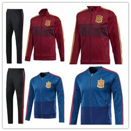 Wholesale Men Waterproof Pant - 2018 Spain Jacket tracksuit Top thai quality SERGIO RAMOS A.INIESTA 2018 world cup Soccer jackets Jogging Football Pants training Suit