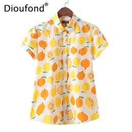 big size women cotton blouses Coupons - Dioufond 2018 Summer Cotton Lemon Print Short Sleeve Blouse Shirt White Women Loose Hawaiian Fashion Tops Big Size S-5XL