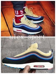Wholesale Hybrid Hard - Air 97 UL 1 97 VF SW Hybrid Corduroy Sean Wotherspoon Men's Bullets Running Shoes Ukiyoe Designer Sneakers with Box Extra Laces