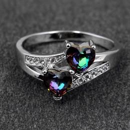 2019 14k anel de ouro amarelo pedra Anel de casamento de Prata Esterlina 925 Anel com Duplo Amor Coração Cubic Zircon Diamante atacado jóias Rápido frete grátis