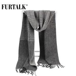 29f284a33ff Furtalk 100% laine d agneau à carreaux écharpe mâle hommes de luxe marque  hiver laine automne hiver écharpes pour hommes écharpes mâles sur la vente