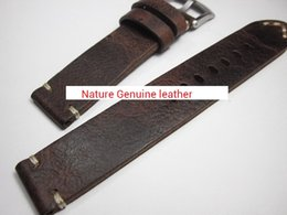 hand bracelet accessories Promo Codes - high quality HAND MADE GENUINE LEATHER crazy horse VINTAGE ROUGH MEN WATCH STRAP BAND BRACELET for repair CHANGE REPLACE FIX ACCESSORY PARTS