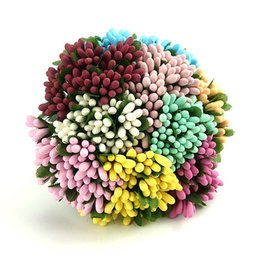 Wholesale Diy Scrapbook Decoration - 12PCS Lot Mini Artificial Flower Stamens Handmade For Wedding Party Home Decoration DIY Christmas Scrapbook Supplies Accessories