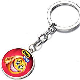 Wholesale Crazy Figures - cute Silvery Alloy children Anime Cartoon crazy happy Emoji KeyChain crazy happy KeyChain The Emoji Movie Key chain Ring Pendant 2018 y120