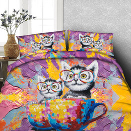 Wholesale child comforters - 3D Printed Colorful Animal Cup Cat Bedding Set Twin Full Queen King Cal King Dovet Cover Sets Pillow Shams Comforter Set Bedspreads Children