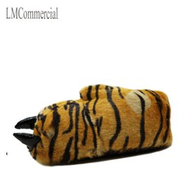 Wholesale Red Paw Print - Indoor Slippers Warm winter home slippers   shoes bear paw leopard claw Plush bag with cotton slippers (tiger)