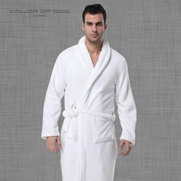 2019 robes de bain blanches Marque 100% Coton Mens Peignoir Épais Chaud Chaud Nuit D'Hiver Robe De Soirée Pure White Ropa Hombre Robe De Bain Lounge Homme Kimono promotion robes de bain blanches