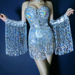 294dbecf690 Holographic Sequin Fringe Bodysuit Jumpsuit Festival Rave Wear Clothes  Outfit Celebrity Birthday Bodysuit Female Singer Costume