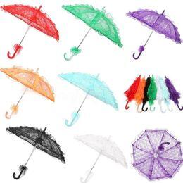 2019 accesorios de la boda del cordón Paraguas nupcial del cordón 11colors Parasol elegante del cordón de la boda del paraguas del arte 56 * 80cm para la decoración del partido de la demostración Apoyos de la foto Sombrillas GGA1093 rebajas accesorios de la boda del cordón