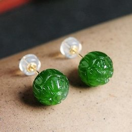 18k Jade Earrings Studs Online Shopping | 18k Jade Earrings Studs