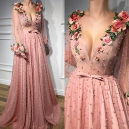 Wholesale Dusty Pink Tulle - Dusty Pink Prom Dresses Long Deep V Neck Major Beading Sash Illusion Long Sleeves Evening Gowns Handmade Flowers Celebrity Party Dress