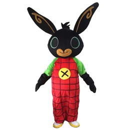 Wholesale red rabbit costume - Wholesale bing bunny Mascot Costume Customized Adult Size rabbit Cartoon Character Mascotte for Adult animal large black red Halloween party