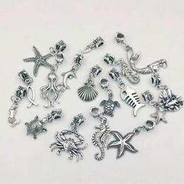 80 unids / lote estrella de plata de la vendimia / hipocampo / delfín / pulpo / tortuga / sirena / cangrejo shell mezcla de encantos colgantes collar pulsera de la joyería-9 desde fabricantes