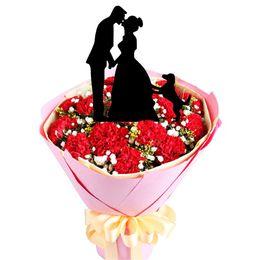 Wholesale Gâteau Topper de fiançailles en acrylique et de mariage avec la mariée et le marié Kissing Dog Pet